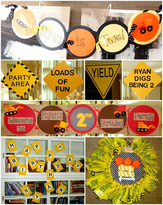 Construction Truck Themed Birthday Party: LOADS OF FUN, RYAN DIGS BEING 2, PARTY AREA