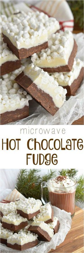 Microwave Hot Chocolate Fudge Recipe via Wonky Wonderful - The BEST Christmas Cookies, Fudge, Candy, Barks and Brittles Recipes - Favorites for Holiday Treats Gift Plates and Goodies Bags!