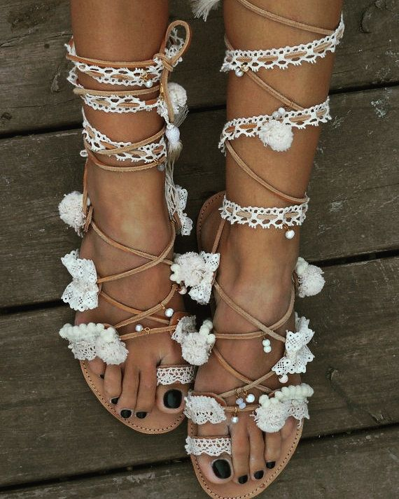 RiRiPoM Tie Up Gladiator Greek Leather Sandals Lace