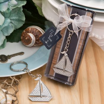 Nautical Themed Silver Sailboat Keychain