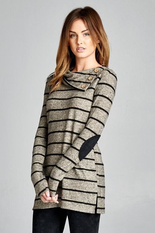 Soft Mocha Long Sleeve Elbow Patch Sweater with Button Detail 33% Polyester 67% Rayon Made in USA