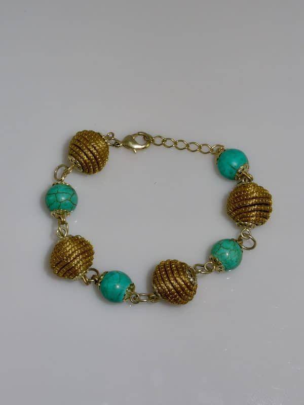Capim Dourado (Golden Grass) Turquoise Ball Bracelet #goldengrass#brazil#sustainablefashion #jewelry #ecofriendly #handmade #handmadejewelry #brazilian #bracelet #handcrafted