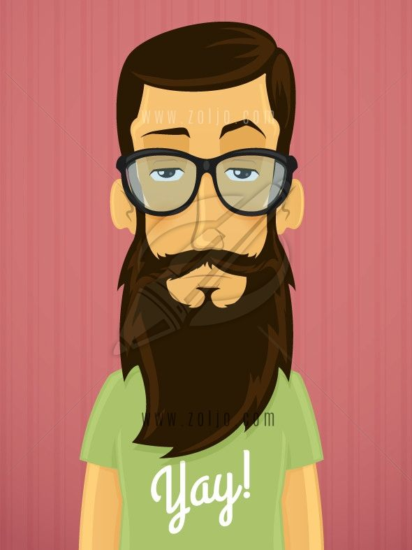 handsome young hipster man with beard and eyeglasses