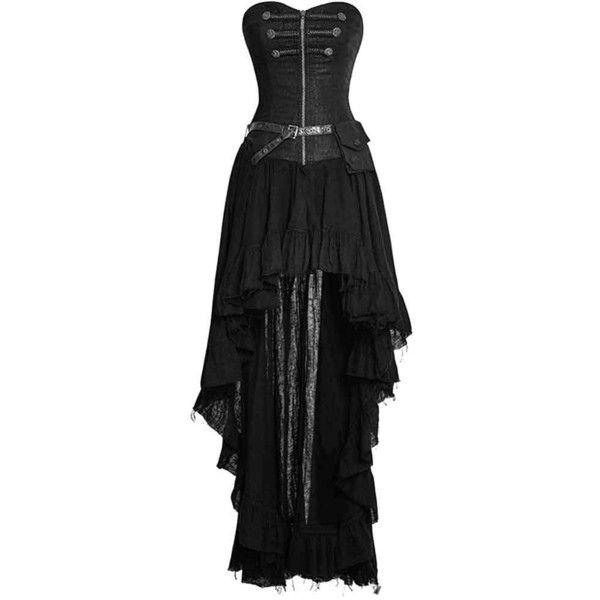 Punk Rave Gothic Dryad Black Dress ❤ liked on Polyvore featuring dresses, goth corset, punk dress, gothic clothing dresses, gothic corset dresses and punk corset