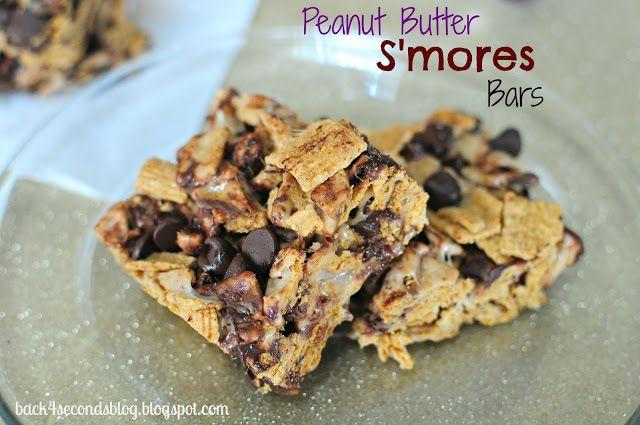 NO BAKE Peanut Butter Smores Bars @Backforseconds http://backforsecondsblog.com #dessert #nobake #smores