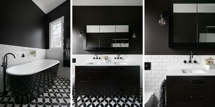 Monochrome Victorian inspired bathroom in our Maribyrnong home. Designed and built by smarterBATHROOMS+