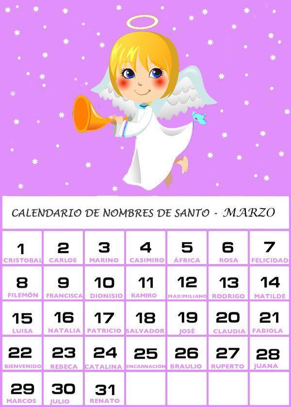 Calendario Santos.Calendario De Los Nombres De Santos De Marzo Cute Ideas