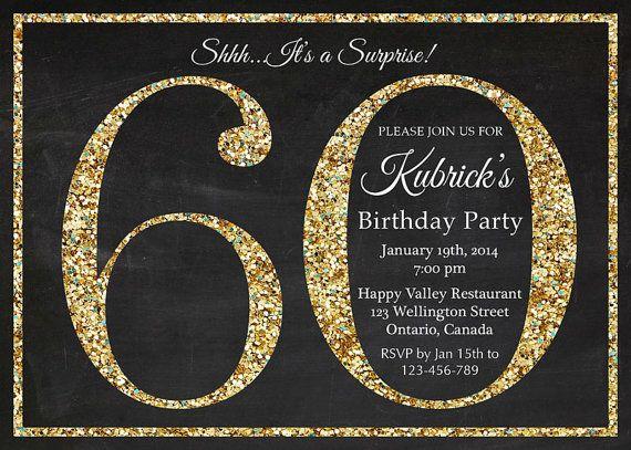 invitación de cumpleaños 60. Invitación de cumpleaños Glitter