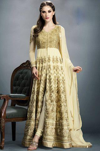 Cream Floor Length Anarkali Suit