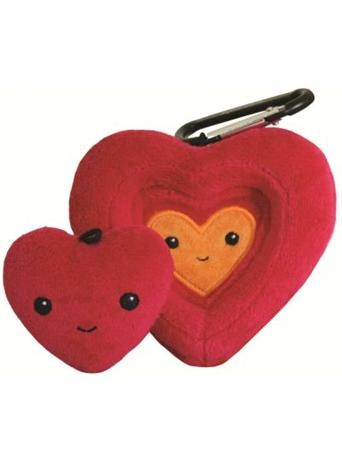 The Kimochis® Nesting Heart is one plush heart nestled inside another so that when your little one is separated from you or another family member, each person can keep a heart as a tangible, playful way to stay connected.     Perfect for back-to-school jitters, sleep away summer camps, parents on business trips, best friends, or long distance relatives.     The Kimochis Nesting Heart comes with a carabiner and fun activities for creating close family connections.