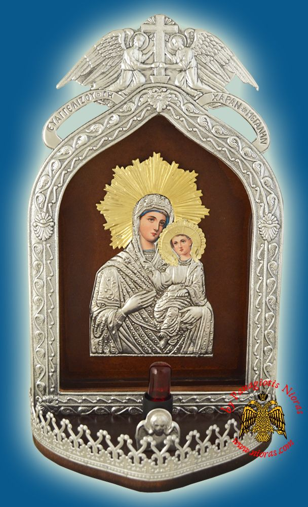 Electric Lamp Traditional  Icon With Angel Frame Copy of Tinos Icon 22x37cm
