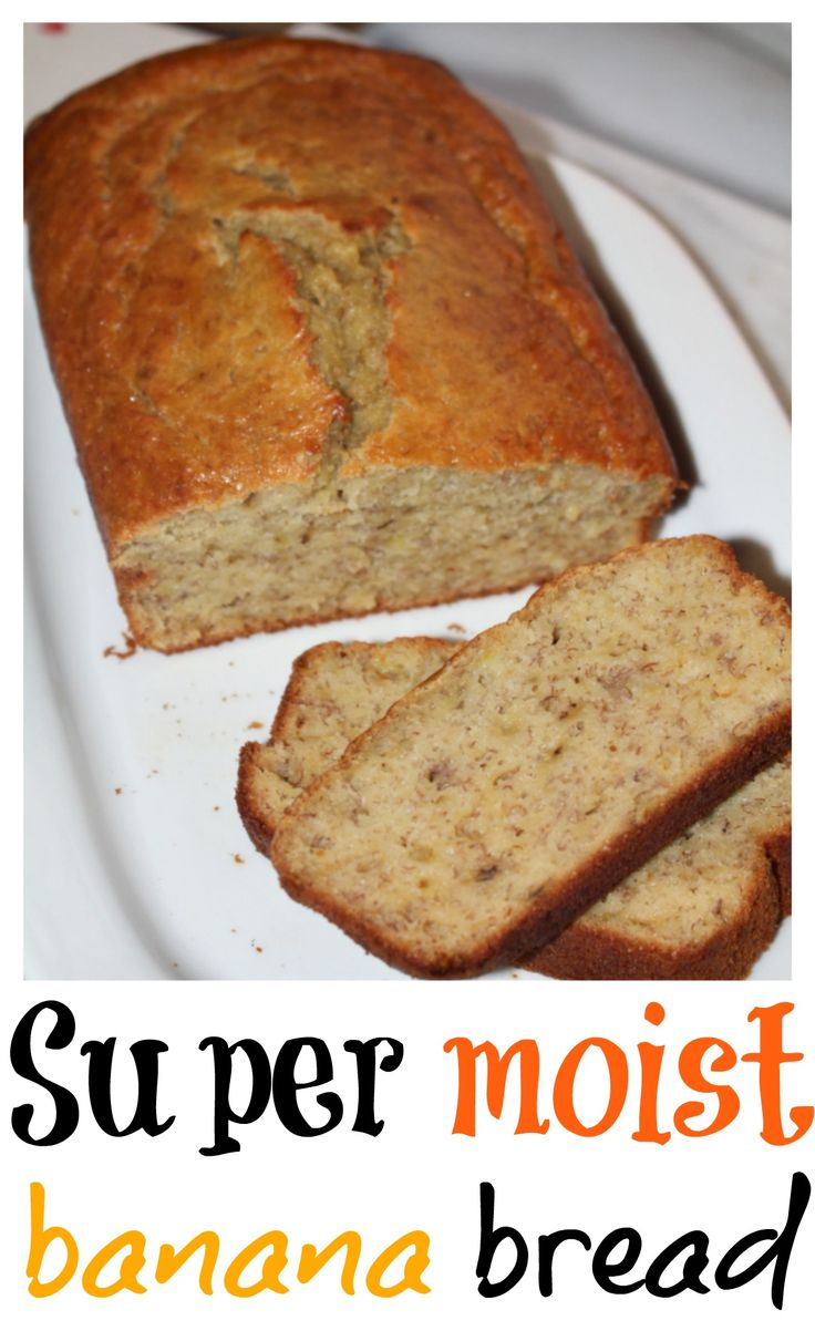 super moist banana bread- You have to try this super moist banana bread. It's easy, quick and delicious! Get the recipe today :)