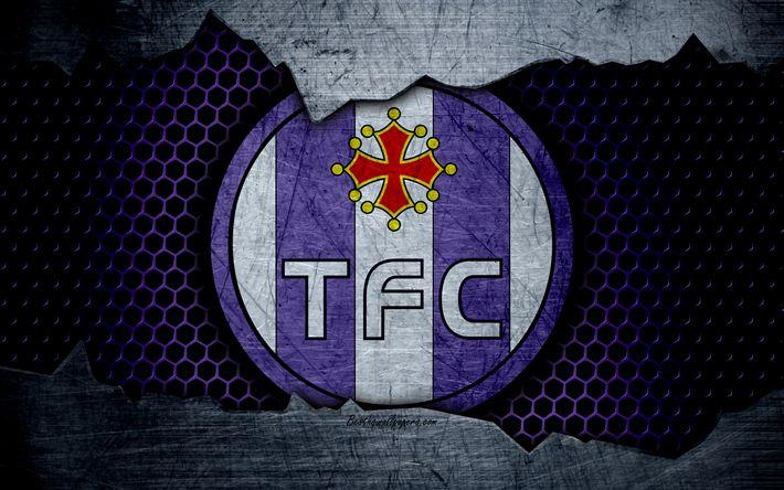 Descargar fondos de pantalla Toulouse, 4k, la Liga 1, el logotipo, el grunge, el fútbol, club de fútbol, de metal textura, la Ligue 1, el arte, el Toulouse FC