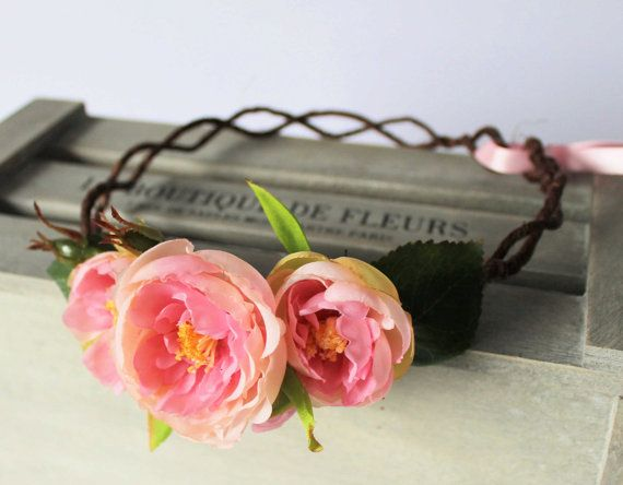 Pink Ranunculus Floral Crown Flower Girl Garland by Flashfloozy