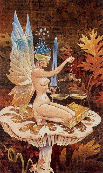The Dryad (Justice) - Fairy Tarot (Antonio Lupatelli)