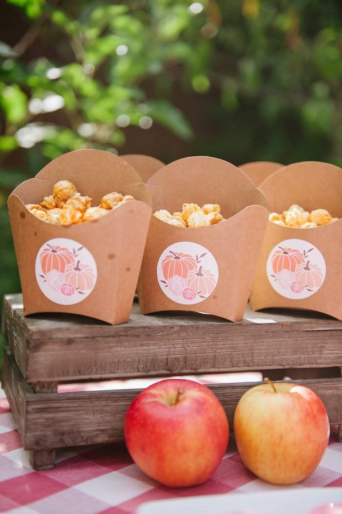 """Popcorn in kraft french fry boxes from """"Little Pumpkin"""" Fall Picnic Birthday Party at Kara's Party Ideas."""