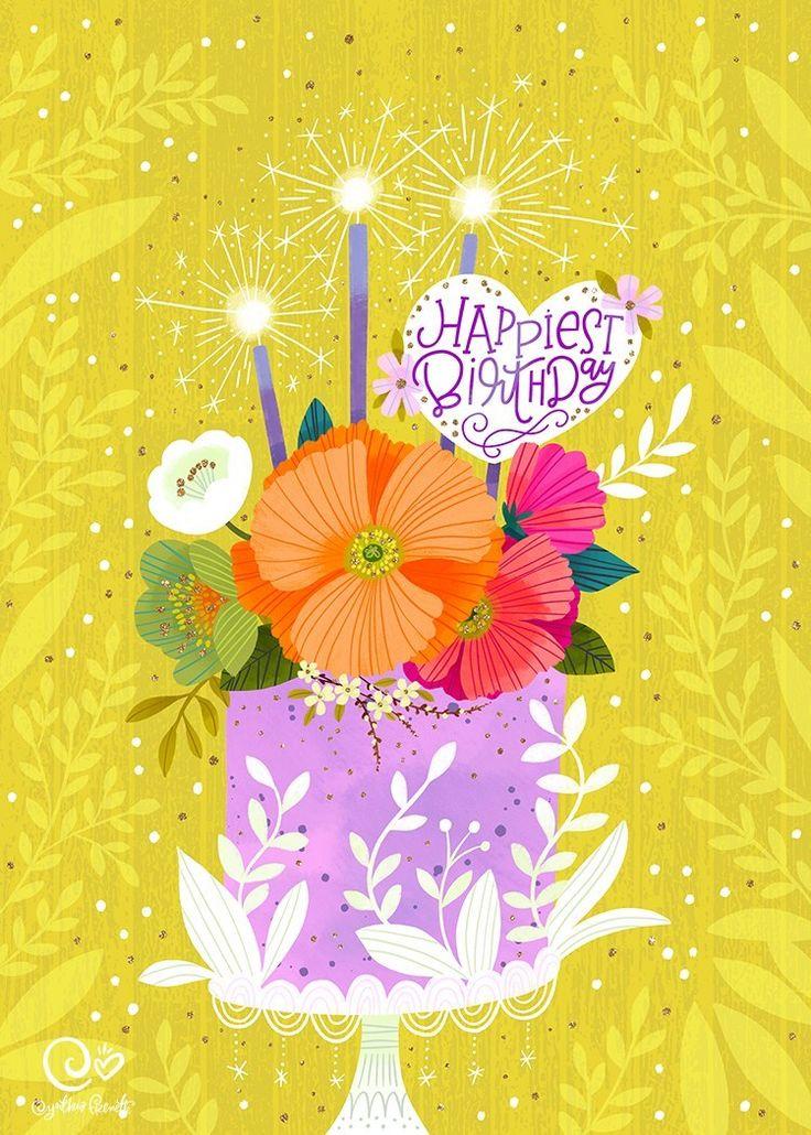 Birthday card illustration & design Tropical style! cynthiafrenette.com