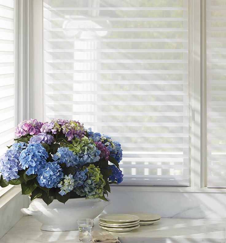 Silhouette® window shadings add a gentle translucency to softly illuminate any style and any setting. ♦ Hunter Douglas window treatments #Kitchen