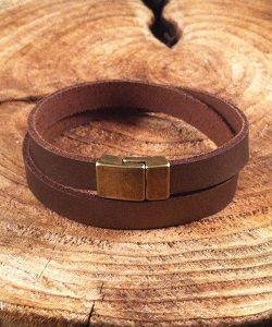 Leren armband heren dark mocca metallic. Op maat bestelbaar en in vijf verschillende kleuren leverbaar!