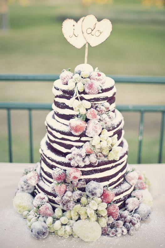 Naked chocolate cake with sugared fruit