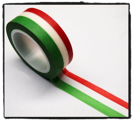 Striscia Washi completo Rotolo nastro 15mm WT264 - bandiera dell'Italia verde, bianco, rosso