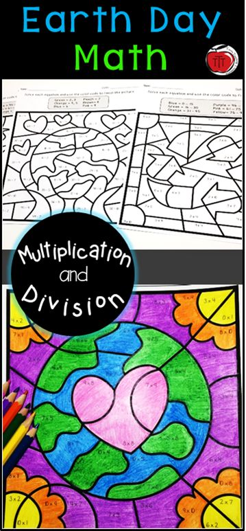 earth day multiplication and division color by number multiplication and division activities. Black Bedroom Furniture Sets. Home Design Ideas