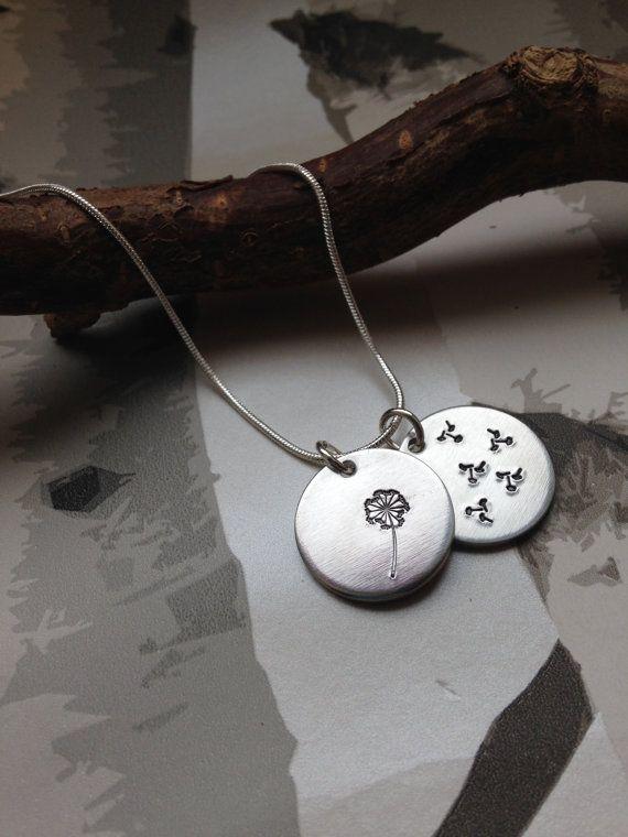 Dandelion necklace - Hand stamped jewellery - Dandelion Jewellery