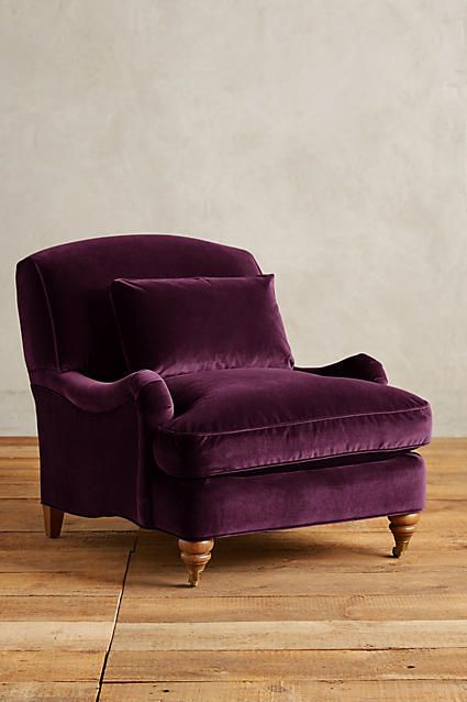 Anthropologie Velvet Glenlee Chair, Landon Love the overstuffed cushions that envelop you as you recline.