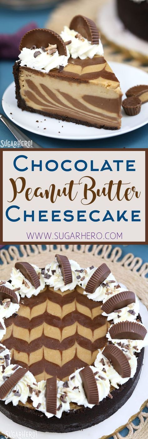 The ULTIMATE Chocolate Peanut Butter Cheesecake! Smooth and creamy, with gorgeous chocolate swirls and lots of peanut butter cups on top!   From SugarHero.com