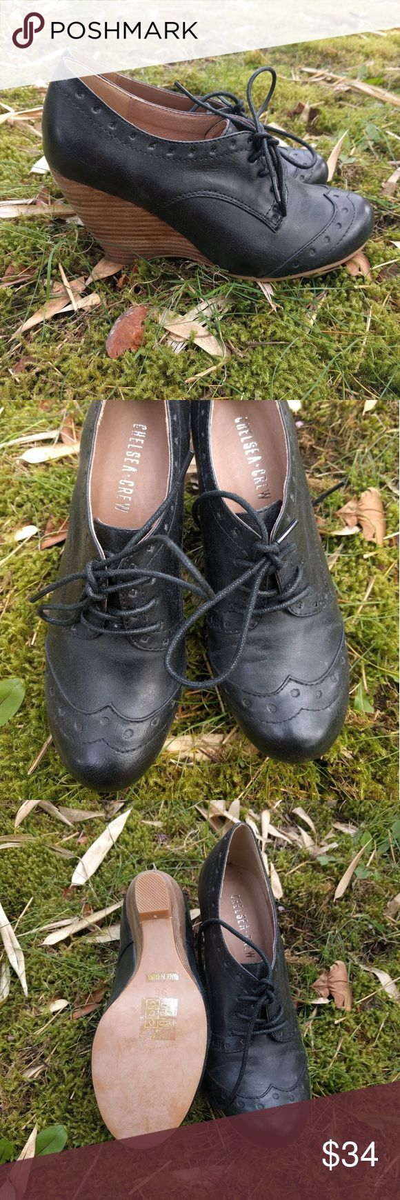 """Chelsea Crew Claire Oxford Wedges Black lace-up shoes with 4"""" wedge heel and a cute little wingtip design.  BNWOT! Chelsea Crew Shoes Wedges"""