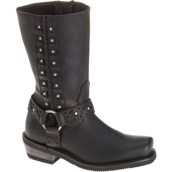 Harley Davidson Auburn Women's Black Boot (€140) ❤ liked on Polyvore featuring shoes, boots, black, harley davidson shoes, black side zip boots, mid-heel boots, black studded shoes and black shoes