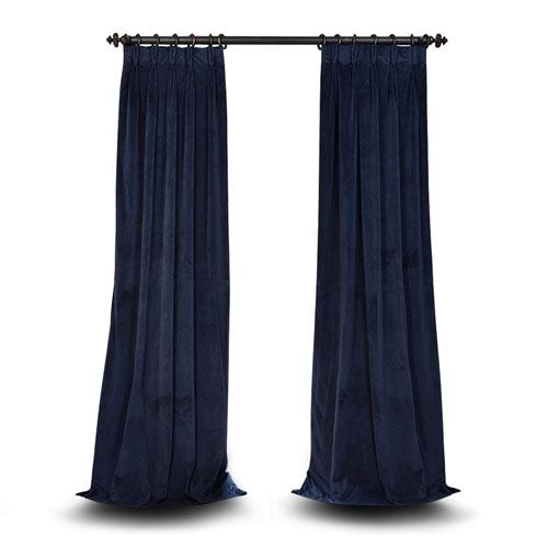 Evelyn Midnight Blue 25 x 96-Inch Evelyn French Pleated Blackout Velvet Curtain