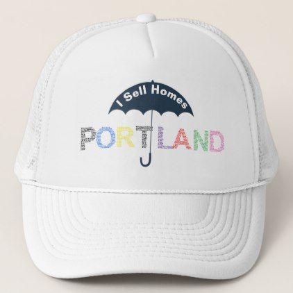 Portland Real Estate Homes White Baseball Cap Hat - real estate gifts business cyo diy customize