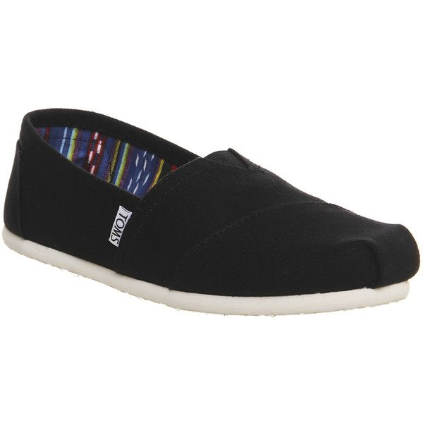 Toms Classic Slip Ons (845 MXN) ❤ liked on Polyvore featuring shoes, flats, black canvas, women, black slip on shoes, black flats, toms espadrilles, toms shoes and slip-on shoes