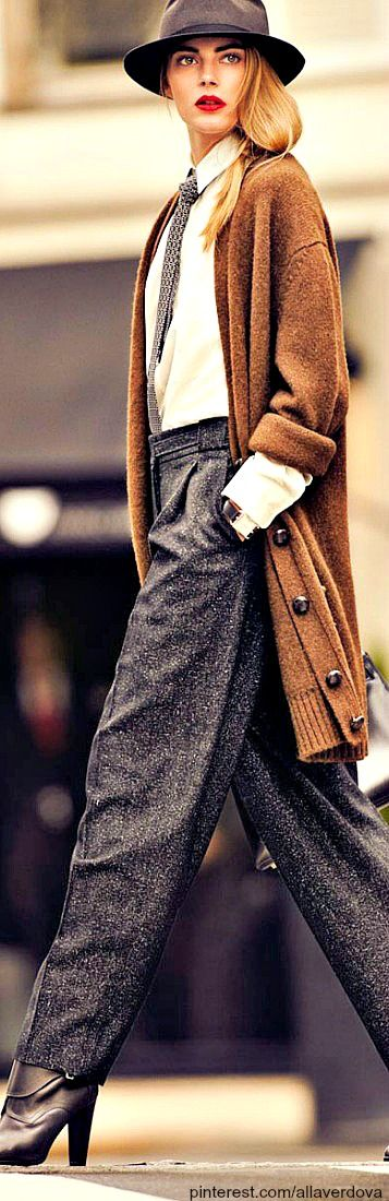 Street style for Fall 2015 ~ Long Cardigan w Tweed Trousers, Boots