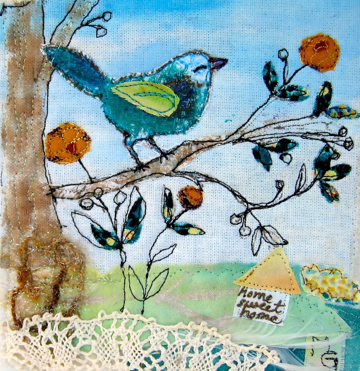 FABRIC Collage Quilt Art -Bird
