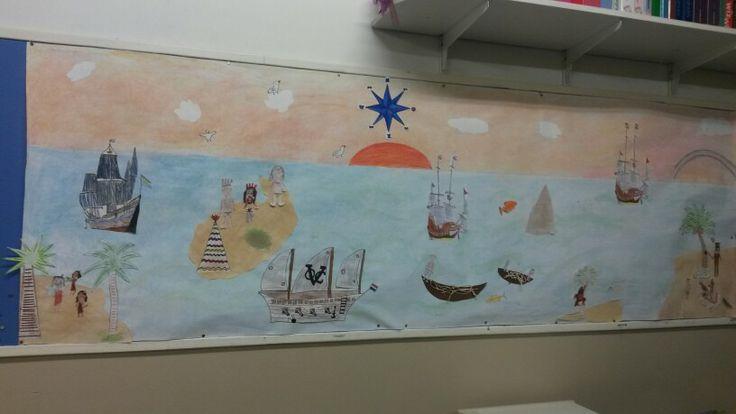 Een collage van de ontdekkingsreizigers...met de hele klas gemaakt. Krijt/potlood/stift. En iedereen heeft een onderdeel gemaakt