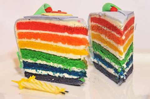 Tęczowy tort motylkowy
