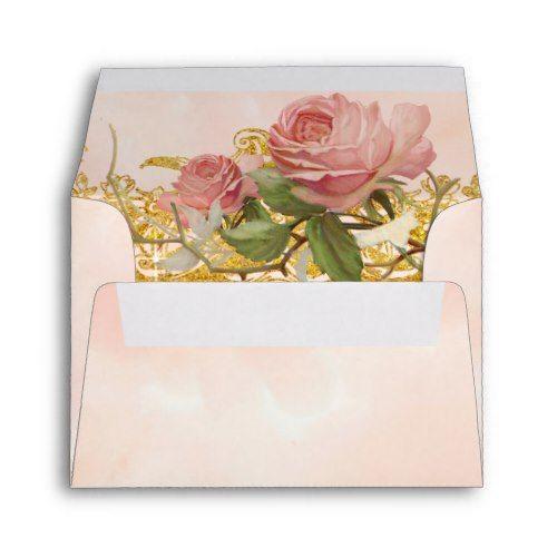 A2 Note Parisian Vintage Rose Manor Formal Wedding Envelope
