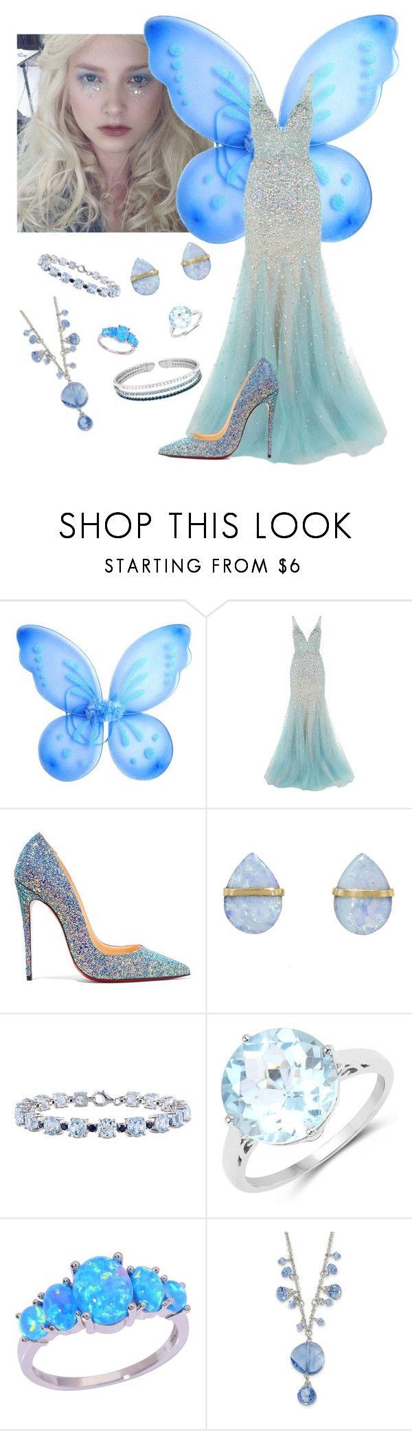 """Adelaide's Halloween Costume: Blue Fairy"" by raspberry-stegosaurus ❤ liked on Polyvore featuring Jovani, Christian Louboutin, Melissa Joy Manning, Miadora, Olivia Leone and 1928"