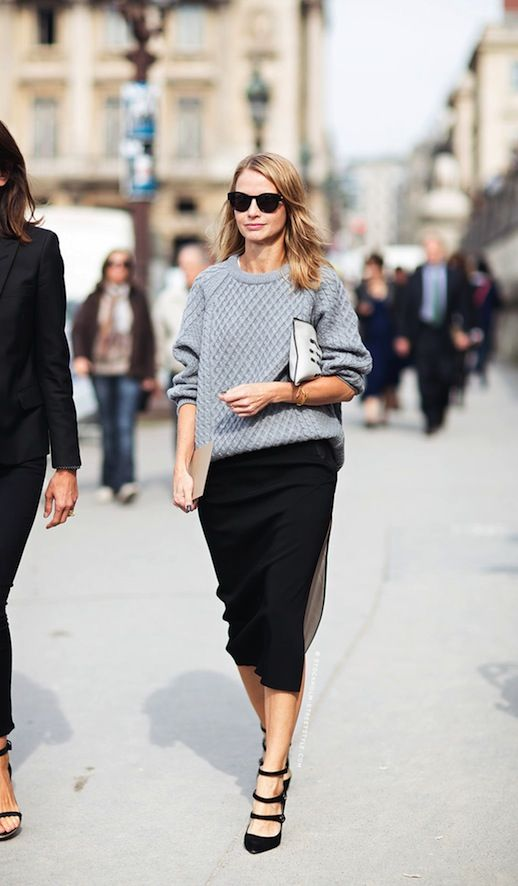Gray sweater with black shirt and stylish high heel shoes