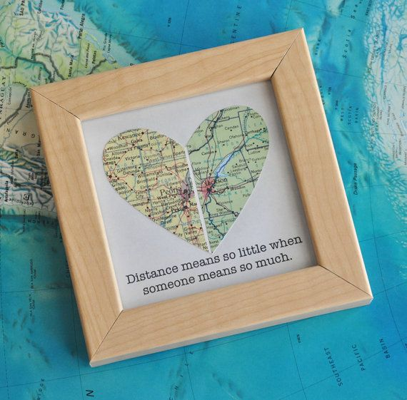 Personalized Gift for Boyfriend, Long Distance Relationship Gift Framed Map Heart Gift with Custom Text Quote Gift