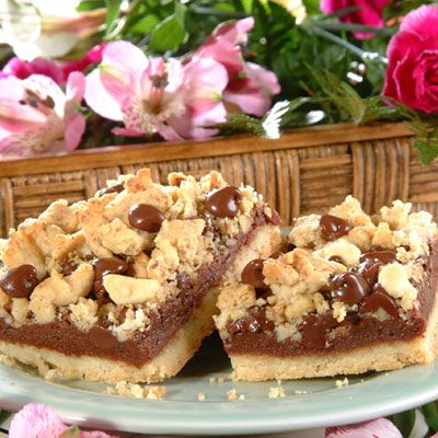 Chocolate Crumb Bars Recipe! Making these today! (not nuts though)