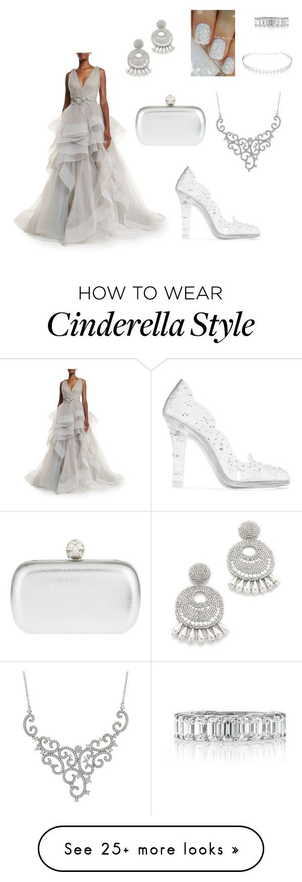 """Silver slipper"" by mehrak on Polyvore featuring Marchesa, Dolce&Gabbana, Alexander McQueen, Kenneth Jay Lane, Luxiro, Kamushki and Mark Broumand"