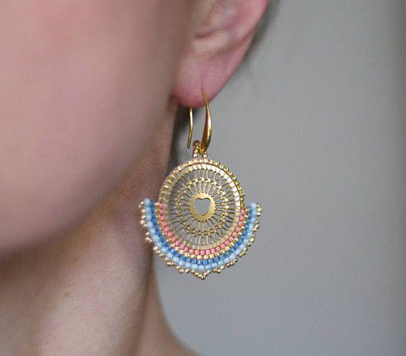 Baby Pink Earrings Golden Filigree Earrings Ethnic Earrings
