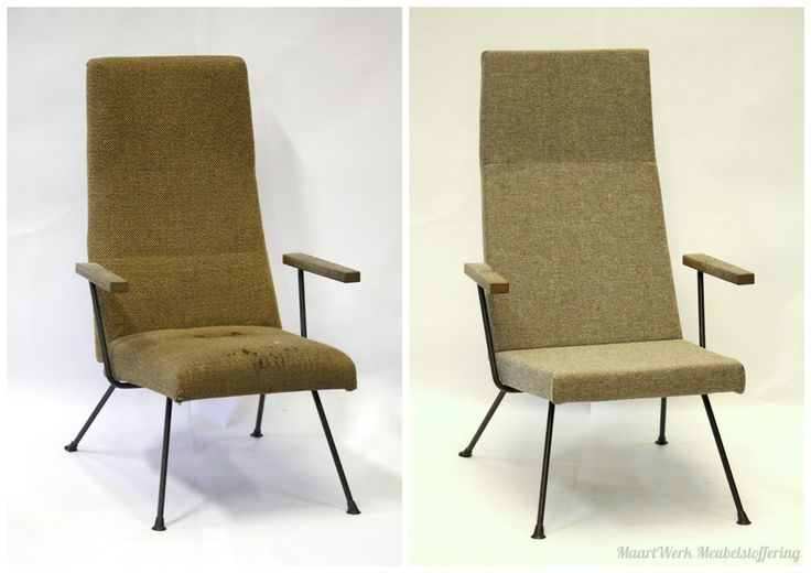 Upholstery Gispen lounge chair, before and after.
