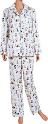 """Charlie Brown is back on our cozy flannel pajamas, bringing along the Peanuts Gang, including Snoopy, Woodstock, Linus, Lucy, Sally, Peppermint Patty, and Schroeder. The cotton flannel pajamas are brushed for extra softness and warmth and feature a button-front top, approx. 27"""" long, and elastic-waist bottoms with approx. 29"""" inseam. Both the PJ top and bottom are trimmed with piping. Machine wash and dry. $54.95"""