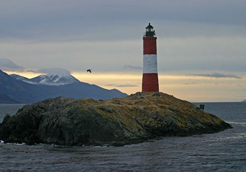 Les Eclaireurs Lighthouse in the Beagle Channel outside of Ushuaia, Argentina, after a winter storm.