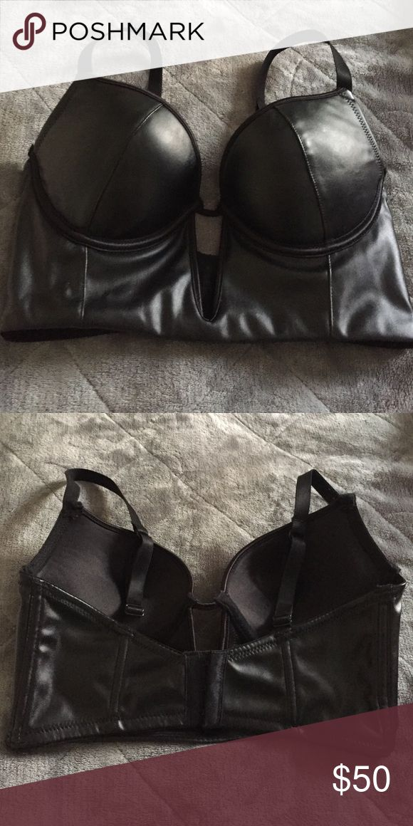 Bebe padded leather corset Bebe padded leather corset, gently used once, great condition bebe Intimates & Sleepwear Bras