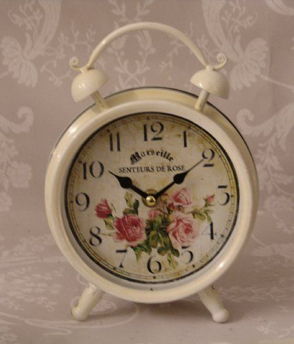 Vintage Style Shabby Chic Distressed Marseille Senteurs De Rose Traditional Alarm  Clock Style   Ideal For